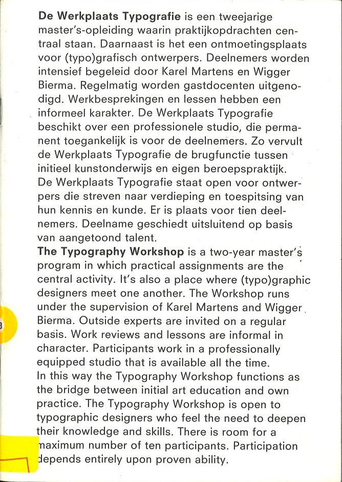 Werkplaats Typografie Brochure 2000