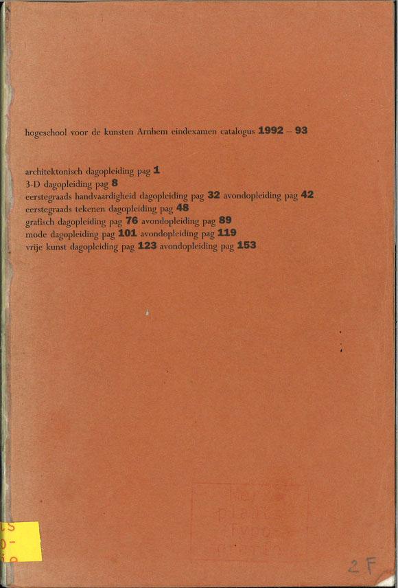 hogeschool voor de kunsten Arnhem eindexamen catalogus 1992-93
