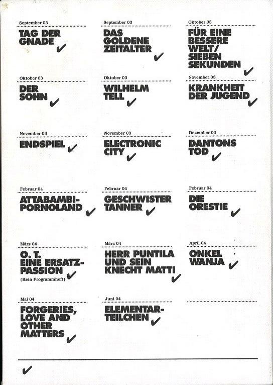 Schauspielhaus Zurich: Sasion 2003/04