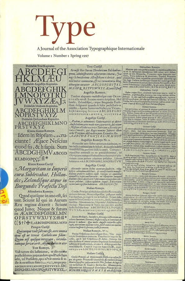 Type. A journal of the Association Typographique Internationale