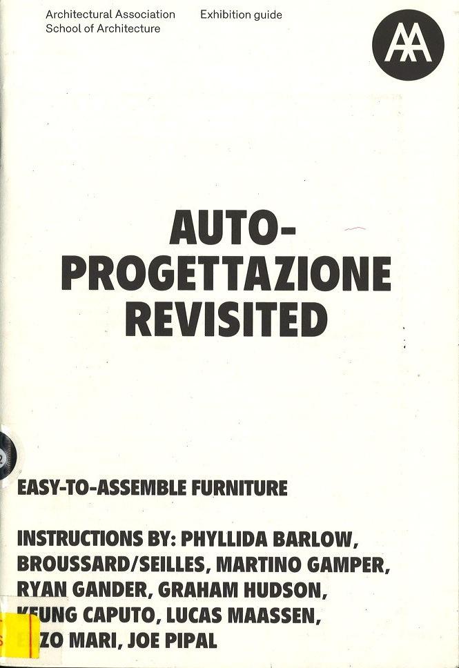 Autoprogettazione Revisited Easy to Assemble Furniture